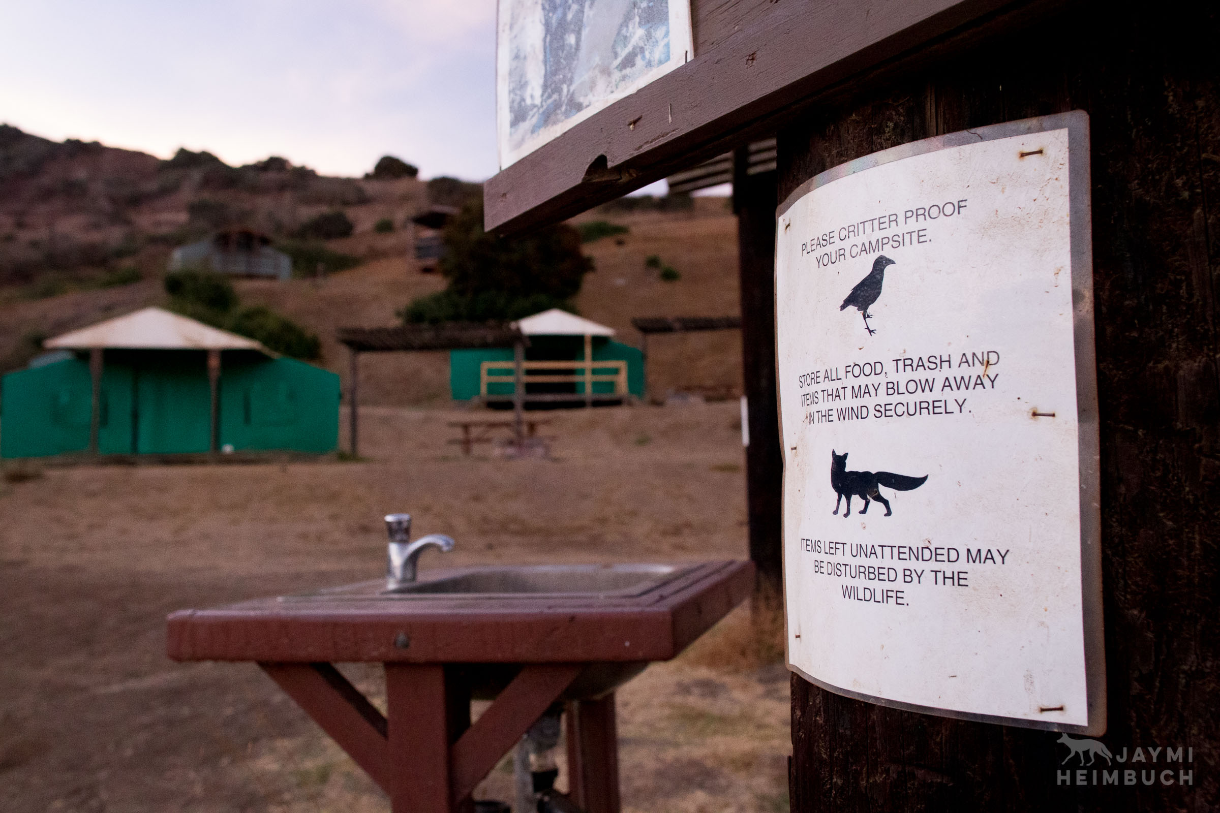 Signs warn campers not to feed wildlife on Santa Catalina Island,  California, United States
